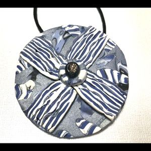 "Jewelry - BOHO Handcrafted 3"" Pendant Blues, Grey and white"